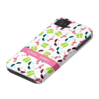 Flamingos & Sunglasses Case-Mate Barely There™ iPhone 4 Case-Mate Case