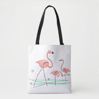Flamingos Trio 2 all over tote coral check back