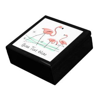 Flamingos Trio 2 Text tile gift box