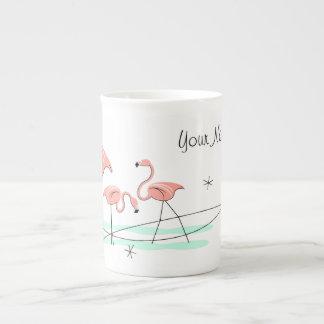 Flamingos Trio Name bone china mug