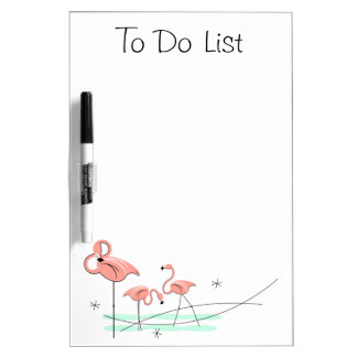 "Flamingos Trio ""To Do List"" dry erase board"