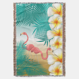 Flamingos Tropical Beach Paradise Throw Blanket