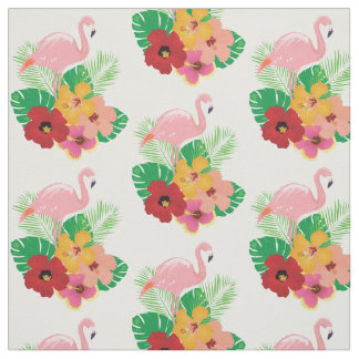 Flamingos Tropical Flowers Fabric