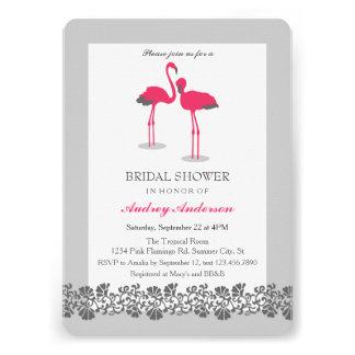 Flamingos Tropical Luau Bridal Shower Invitation