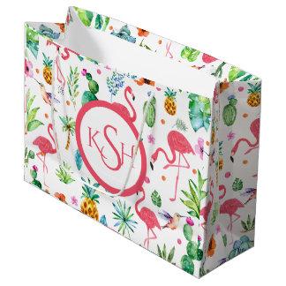 Flamingos & Tropical Plants & Flowers Pattern Large Gift Bag