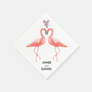 Flamingos tropical wedding disposable napkins