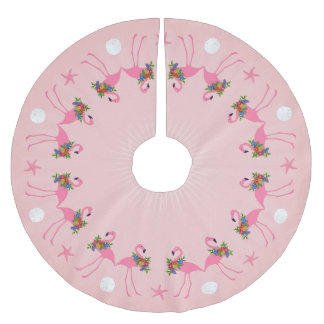 Flamingos With Wreaths Pink Christmas Brushed Polyester Tree Skirt