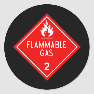 flammable gas classic round sticker