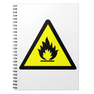 Flammable Warning Sign Notebook