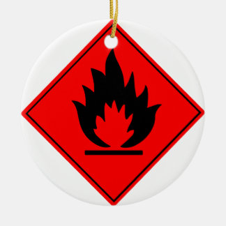 Flammable Warning Sign Round Ceramic Decoration
