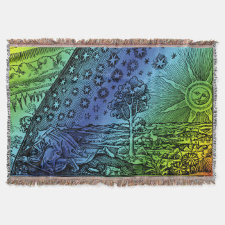 Flammarion Heaven and Earth Engraving Artwork Throw Blanket
