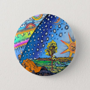 Flammarion Woodcut Flat Earth Design Square COLOR 6 Cm Round Badge