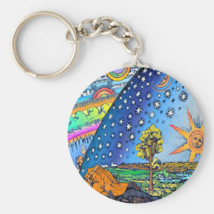 Flammarion Woodcut Flat Earth Design Square COLOR Key Ring