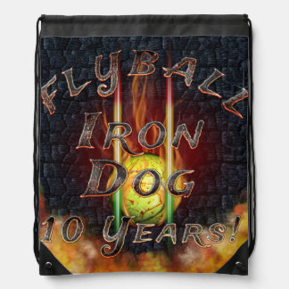 Flamz Flyball Iron Dog - 10 years of competition! Drawstring Bag
