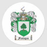 FLANAGAN FAMILY CREST -  FLANAGAN COAT OF ARMS ROUND STICKERS