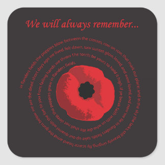Flanders Fields Remembrance Day Sticker
