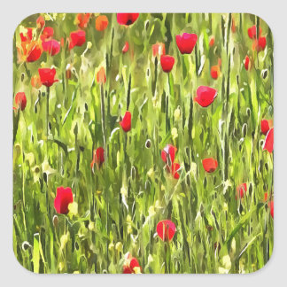Flanders Poppies Square Sticker