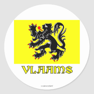 Flanders Region Flag with Name Classic Round Sticker