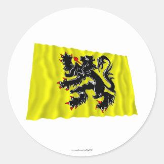 Flanders Region Waving Flag Classic Round Sticker