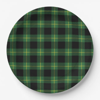 Flannel Green Buffalo Plaid Pattern Fall Autumn Paper Plate