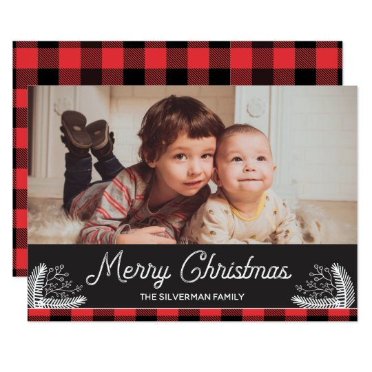 Flannel Plaid Buffalo Check Merry Christmas Card