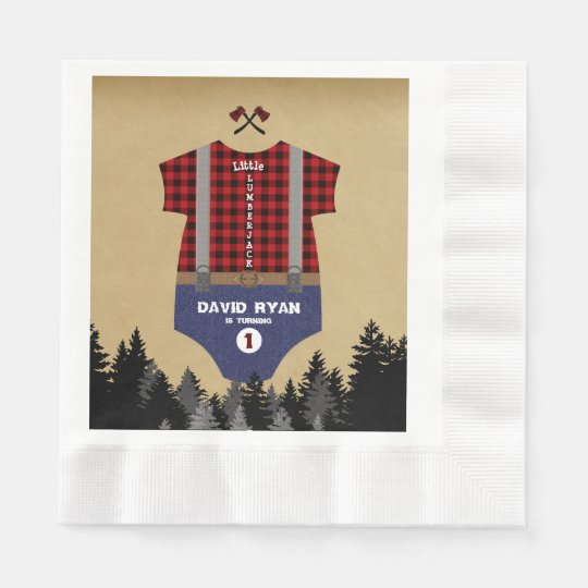 Flannel Up Baby Suit Lumberjack First Birthday Disposable Serviettes