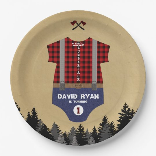 Flannel Up Baby Suit Lumberjack First Birthday Paper Plate