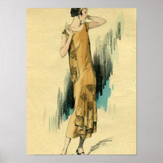 Flapper-1920's Fashion Illustration Poster-Print Poster