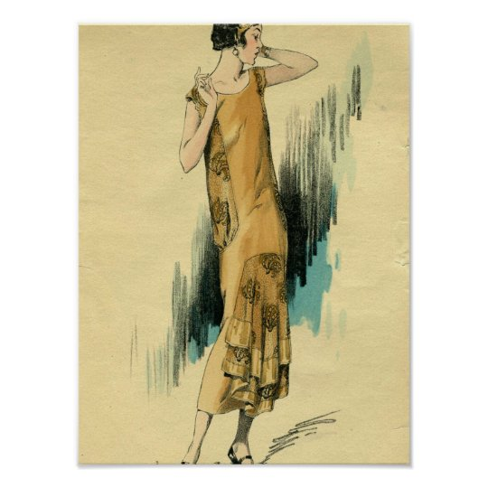 Flapper-1920's Fashion Illustration Poster-Print Poster