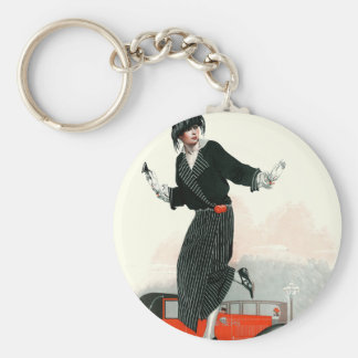 Flapper and Roadster Basic Round Button Key Ring