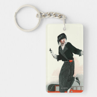 Flapper and Roadster Double-Sided Rectangular Acrylic Key Ring