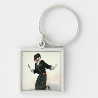 Flapper and Roadster Silver-Colored Square Key Ring