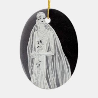 Flapper Bride Ceramic Oval Decoration