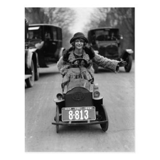 Flapper Driving Pedal Car, 1924 Postcard