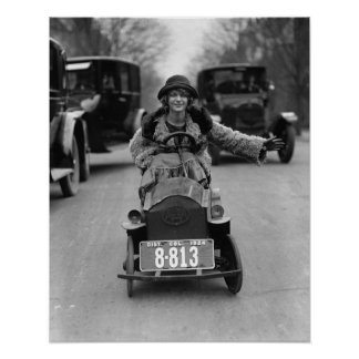 Flapper Driving Pedal Car, 1924 Poster