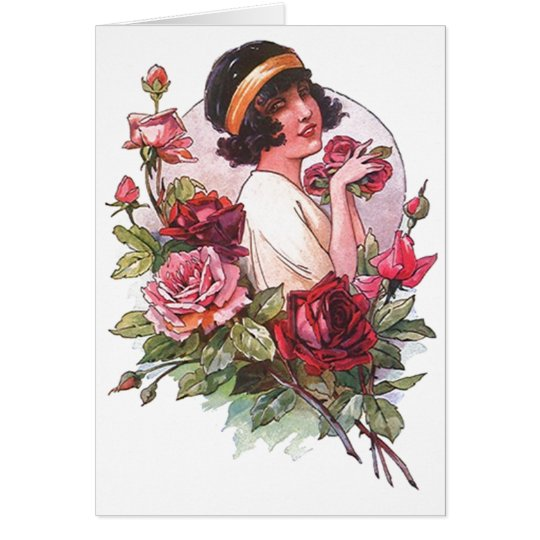 Flapper Flower Roses Girl Request Cards Invitation