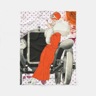 Flapper Girl Antique Car Retro Fleece Blanket