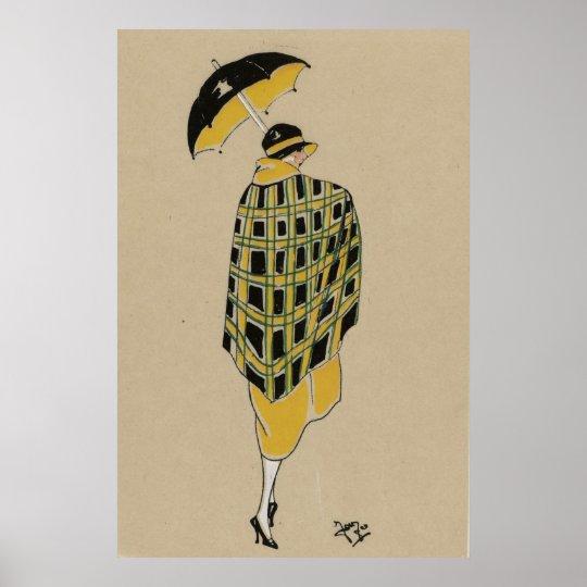Flapper Girl In The Rain Poster