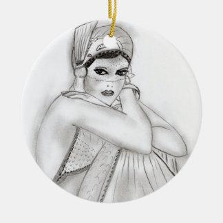 Flapper Girl Round Ceramic Decoration