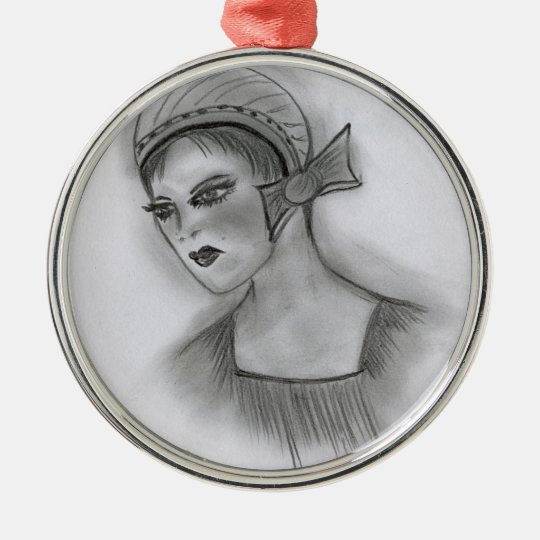 Flapper Girl With Bow Silver-Colored Round Decoration