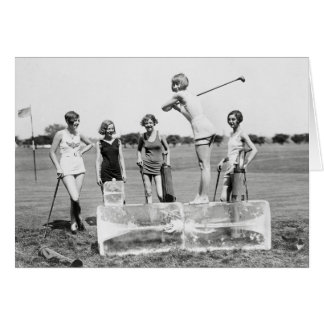 Flapper Girls Playing Golf, 1926 Card