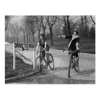 Flapper Girls Riding Bicycles, 1925 Postcard