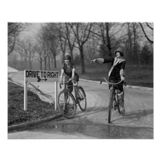 Flapper Girls Riding Bicycles, 1925. Vintage Photo Poster