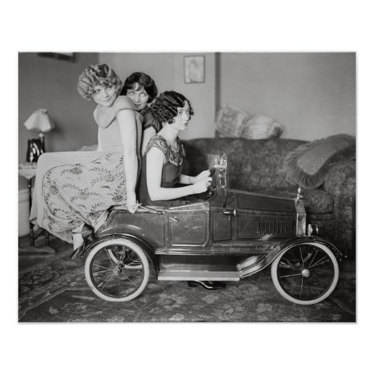 Flapper Girls With Pedal Car, 1922. Vintage Photo