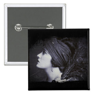 Flapper in a Feathered Turban Pinback Button