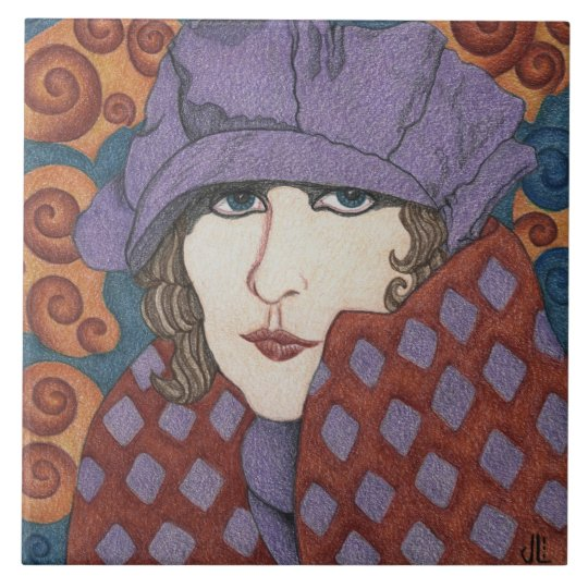 """Flapper in Art Nouveau"" on Ceramic Tile"