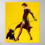 Flapper Pinup Girl Walking Her Pet Dog