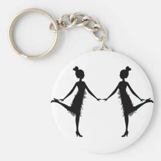 Flapper Silhouette Basic Round Button Key Ring