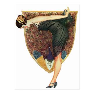 Flapper with Peacock Emblem Postcard
