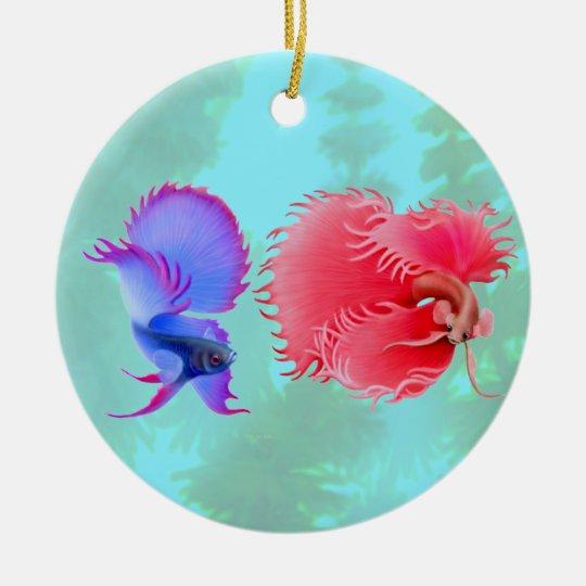 Flaring Betta Splendens Fighting Fish Ornament